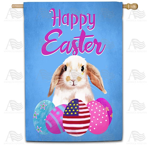 Patriotic Easter Bunny Double Sided House Flag