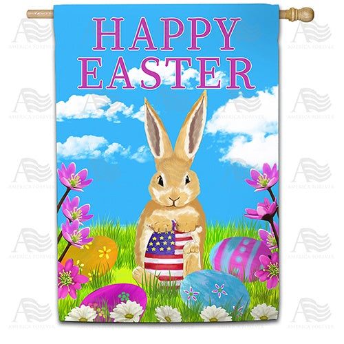 Patriotic Easter Egg Double Sided House Flag