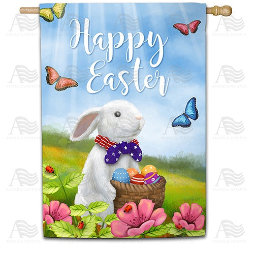 Easter Bunny with Patriotic Tie Double Sided House Flag