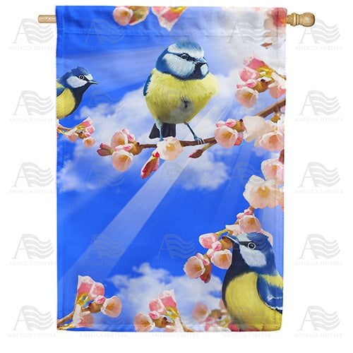 Spring Sunshine and Bluebirds Double Sided House Flag