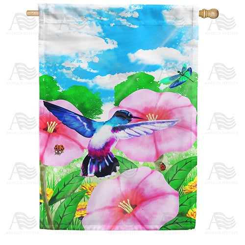 Watercolor Spring Hibiscus Double Sided House Flag