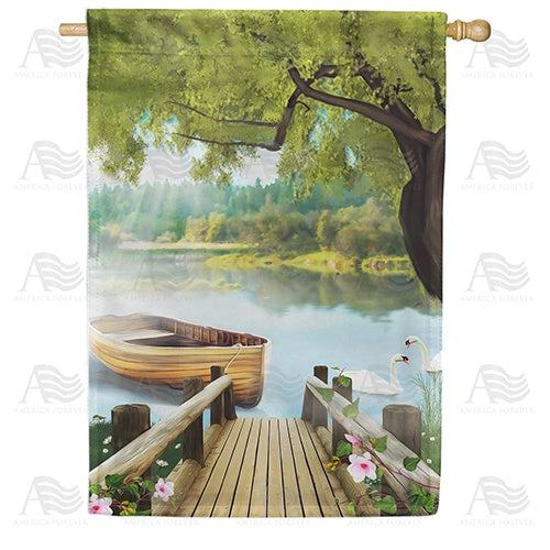 Serene Spring Swan Lake Double Sided House Flag