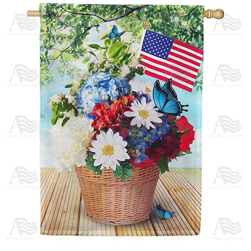 Red White And Blue Blooms Double Sided House Flag
