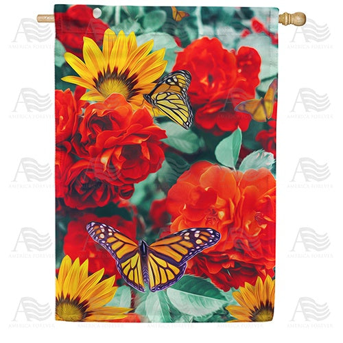 Monarch Butterflies Double Sided House Flag