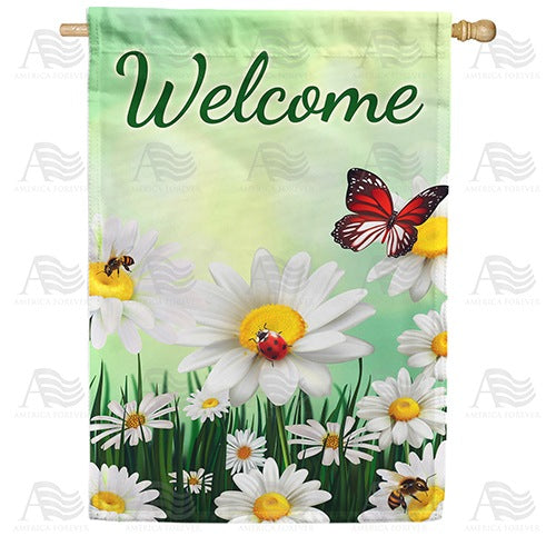 Daisies Welcome Double Sided House Flag