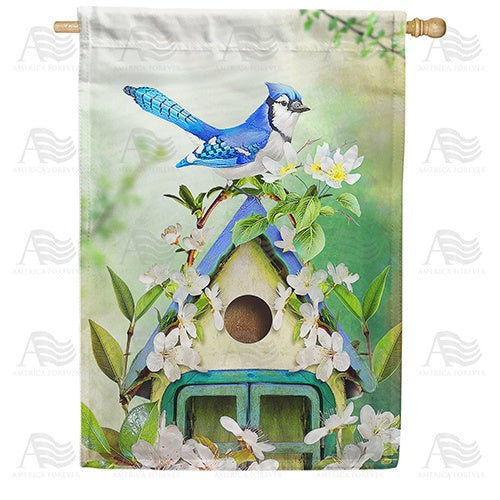 Blue Jay In Blossoms Double Sided House Flag