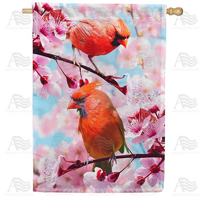 Cardinals In Cherry Tree Double Sided House Flag