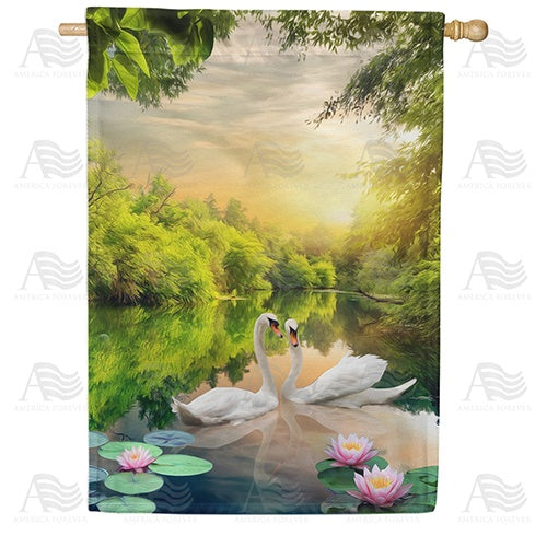 Swan Lotus Lake Double Sided House Flag