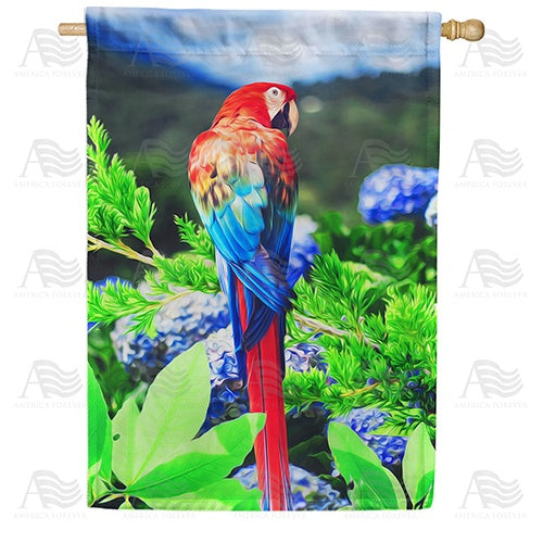 Colorful Macaw Double Sided House Flag