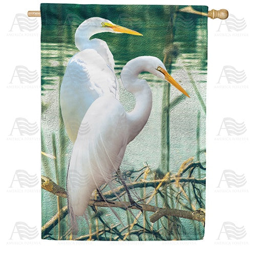 White Egrets Double Sided House Flag