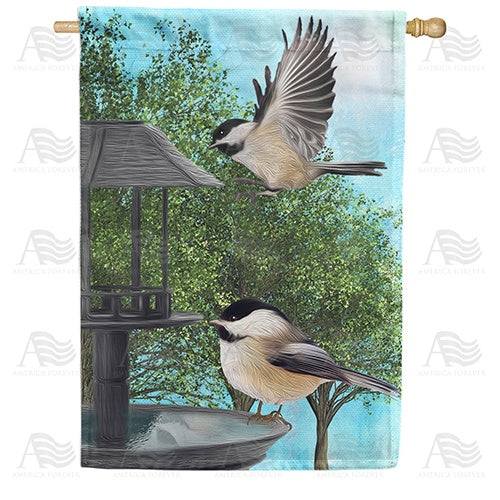 Chickadees At Feeder Double Sided House Flag