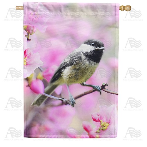 Chickadee In Apple Tree Blossoms Double Sided House Flag