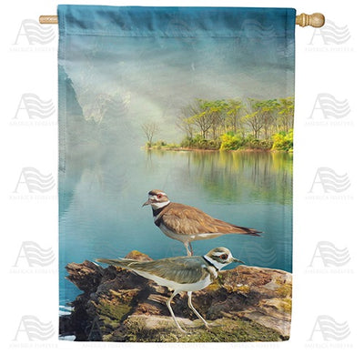 Killdeers By Water Double Sided House Flag