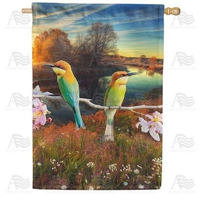 Chestnut Headed Bee Eaters Double Sided House Flag