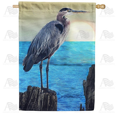 Heron At Ocean Sunset Double Sided House Flag