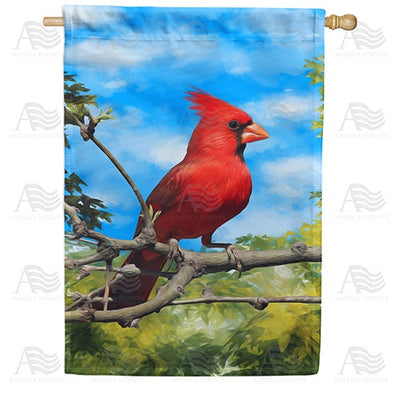 Handsome Mr. Cardinal Double Sided House Flag