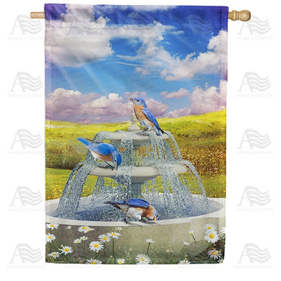 Bluebirds In Water Fountain Double Sided House Flag
