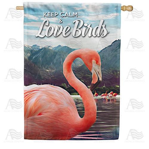 Flamingos On Mountain Lake Double Sided House Flag