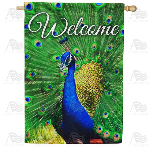 Proud Peacock Welcome Double Sided House Flag
