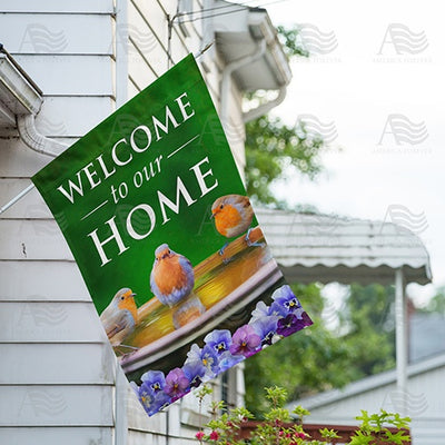 Songbird Welcome To Our Home Double Sided House Flag