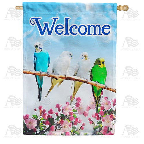 Parakeet Welcome Double Sided House Flag