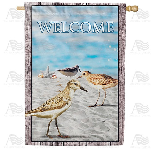 Sandpipers At Sea Shore Double Sided House Flag