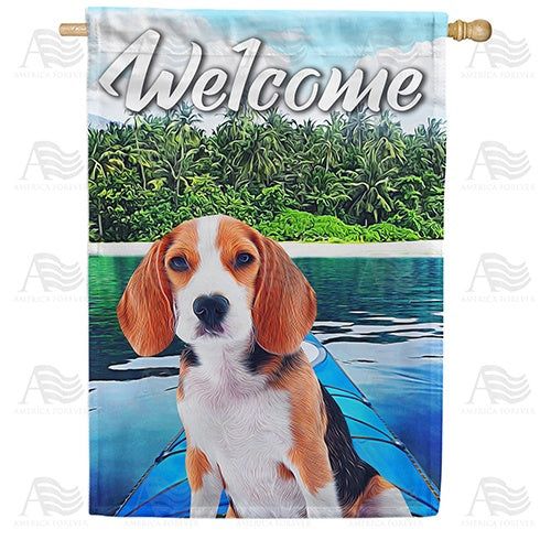 Kayaking Beagle Double Sided House Flag