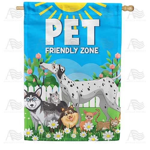Pet Friendly Zone - Cartoon Double Sided House Flag