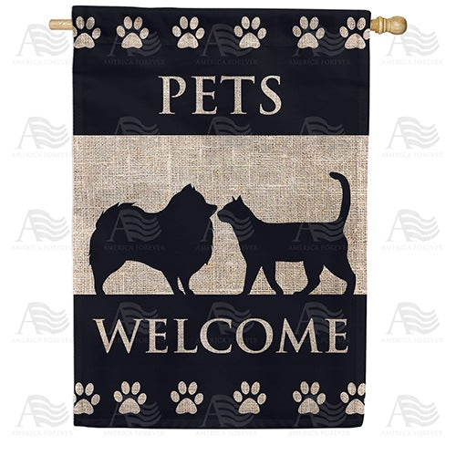 Pets Welcome Double Sided House Flag