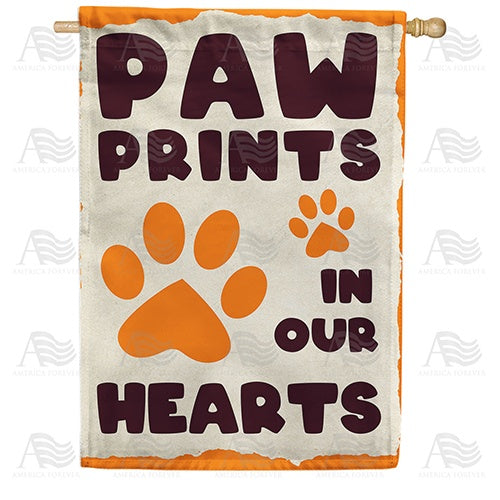 Paw Prints In Our Hearts Double Sided House Flag