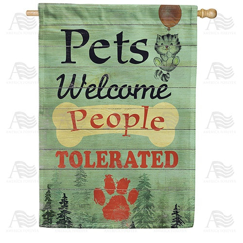 Pets Welcome Sign Double Sided House Flag