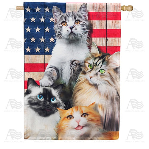 All American Kitties Double Sided House Flag