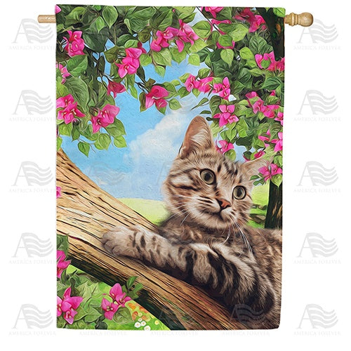 Cat Up A Tree Double Sided House Flag