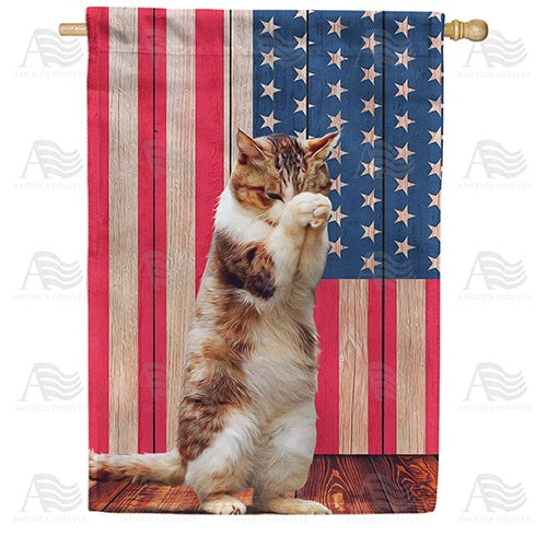 Cat Praying Double Sided House Flag