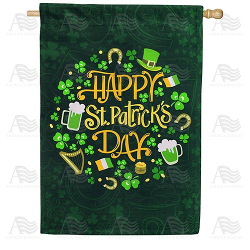 St. Patrick's Day Emblems Double Sided House Flag