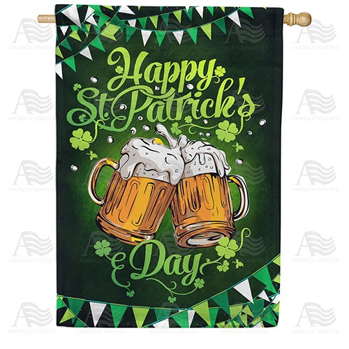 Cheers To St. Patrick Double Sided House Flag