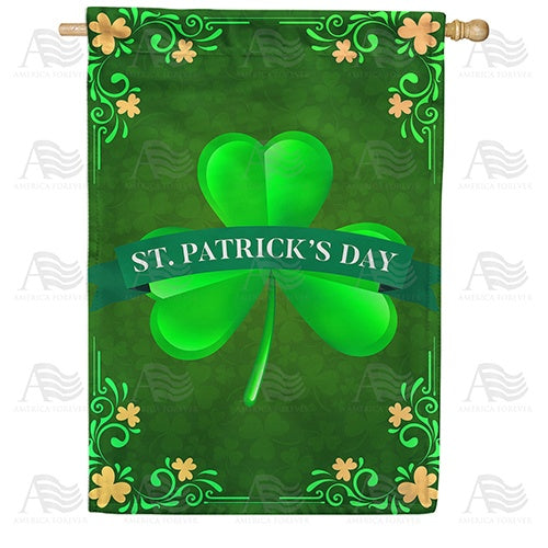 St. Patrick's Day Shamrock Double Sided House Flag