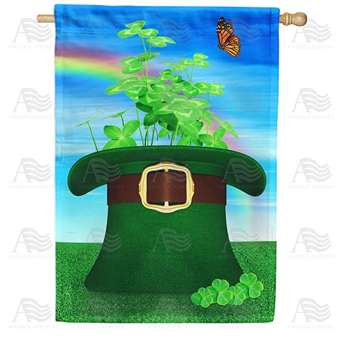Hat Of Clover Double Sided House Flag