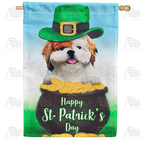 Lucky, The Irish Dog Double Sided House Flag