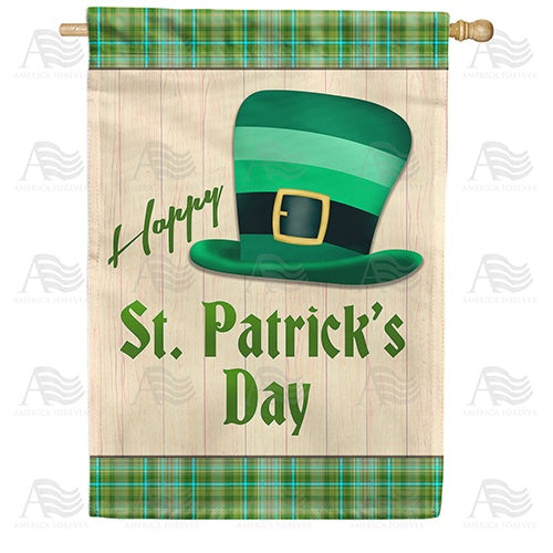 Green Striped Leprechaun Hat Double Sided House Flag