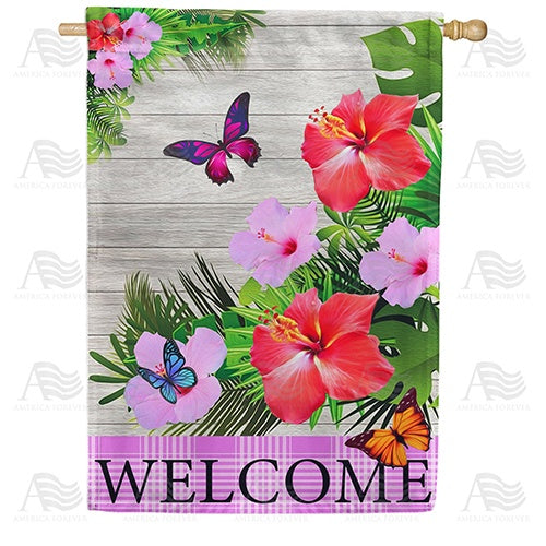 Hibiscus Butterflies Welcome Double Sided House Flag