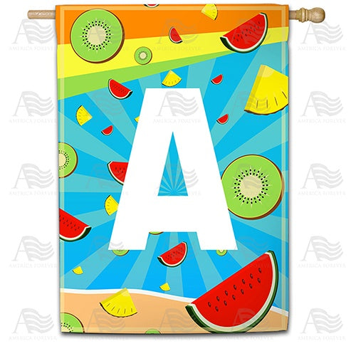 Summer Time Fruits Monogram Double Sided House Flag