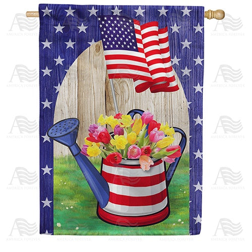 AmeriCAN Flowers Double Sided House Flag