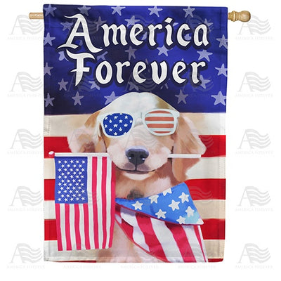 America Forever Puppy Double Sided House Flag