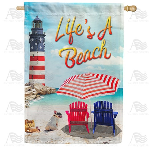 Life's A Beach Lighthouse Double Sided House Flag