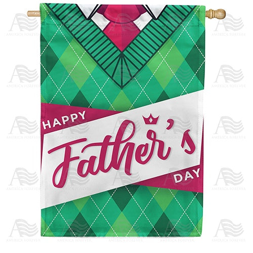 Dad's Green Cardigan Double Sided House Flag