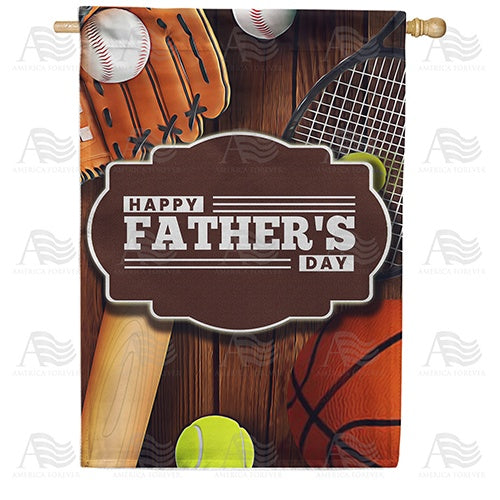 Happy Father's Day Sports Double Sided House Flag