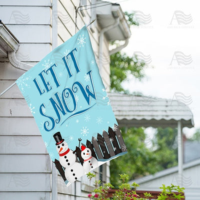 Let It Snow Backyard Snowmen Double Sided House Flag