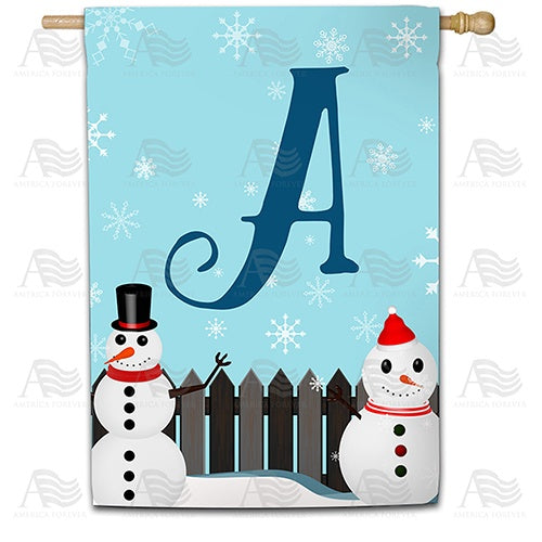 Let It Snow Backyard Snowmen Monogram House Flag
