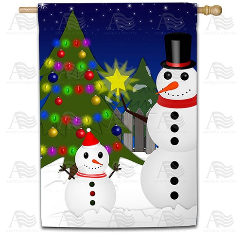 Snowman Christmas Tree Double Sided House Flag